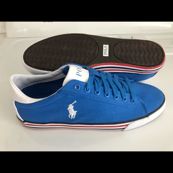 Harvey Blue Canvas Lauren Ralph Polo Boat Shoes 9d vny08NwOPm